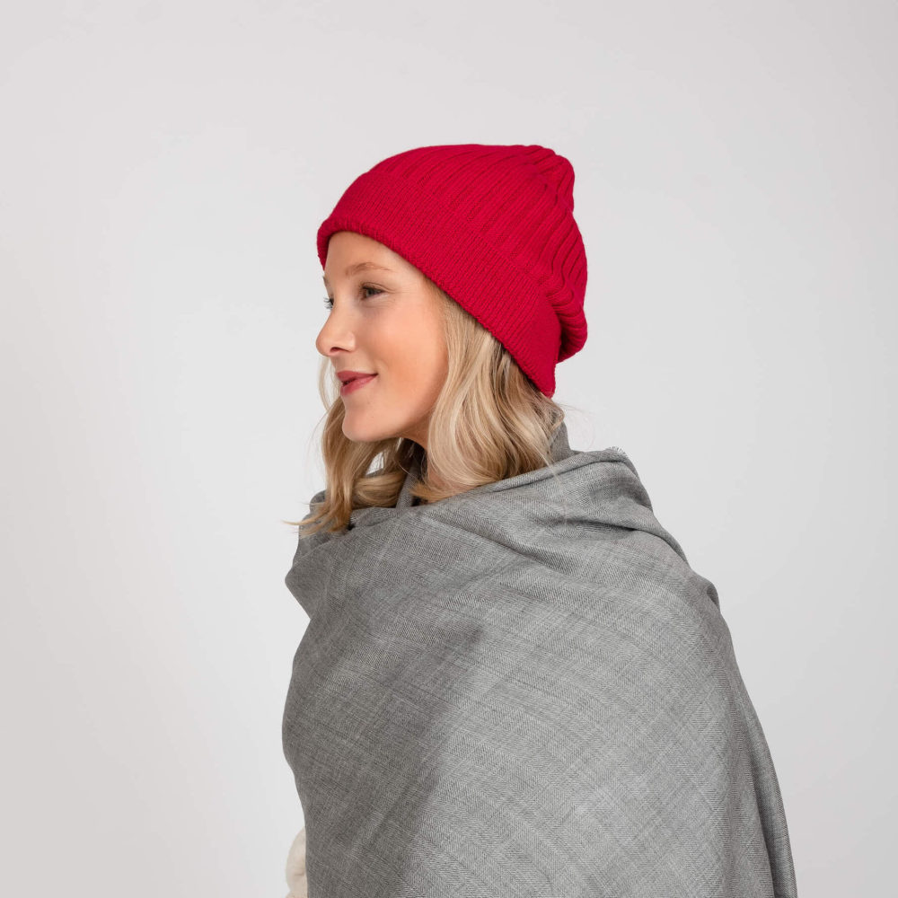 model styling a red rose baby alpaca wool beanie by washein