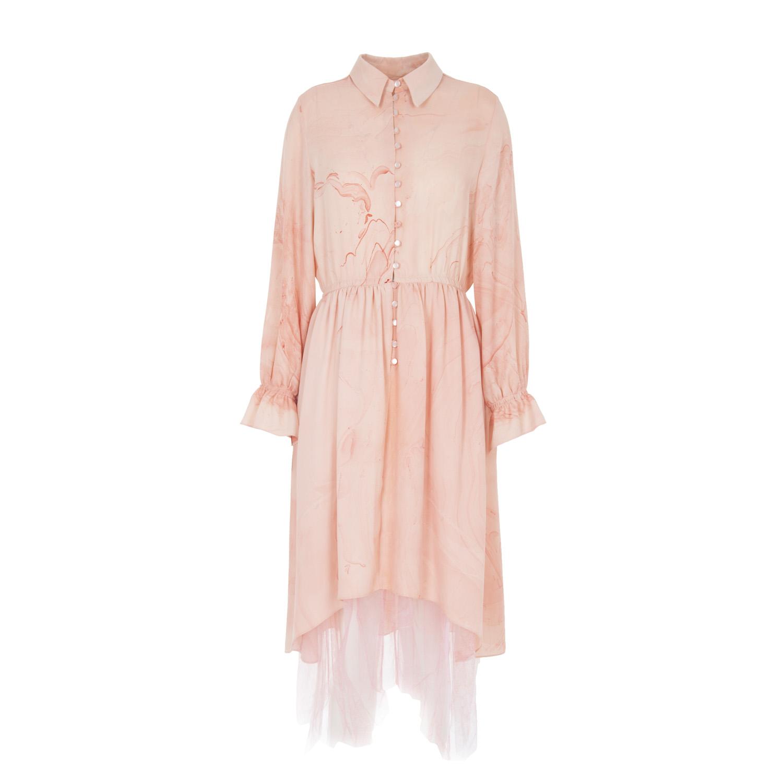 hand marbled button up pink silk dress