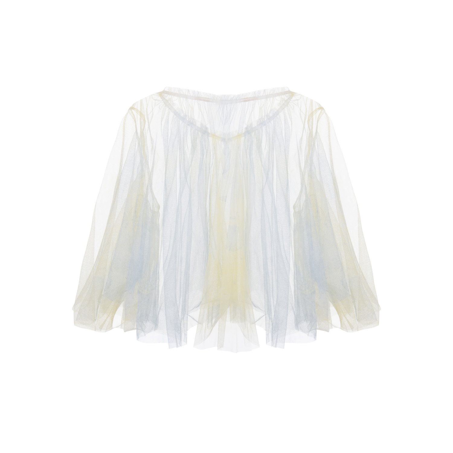 hand dyed yellow and blue raw edge cut tulle top