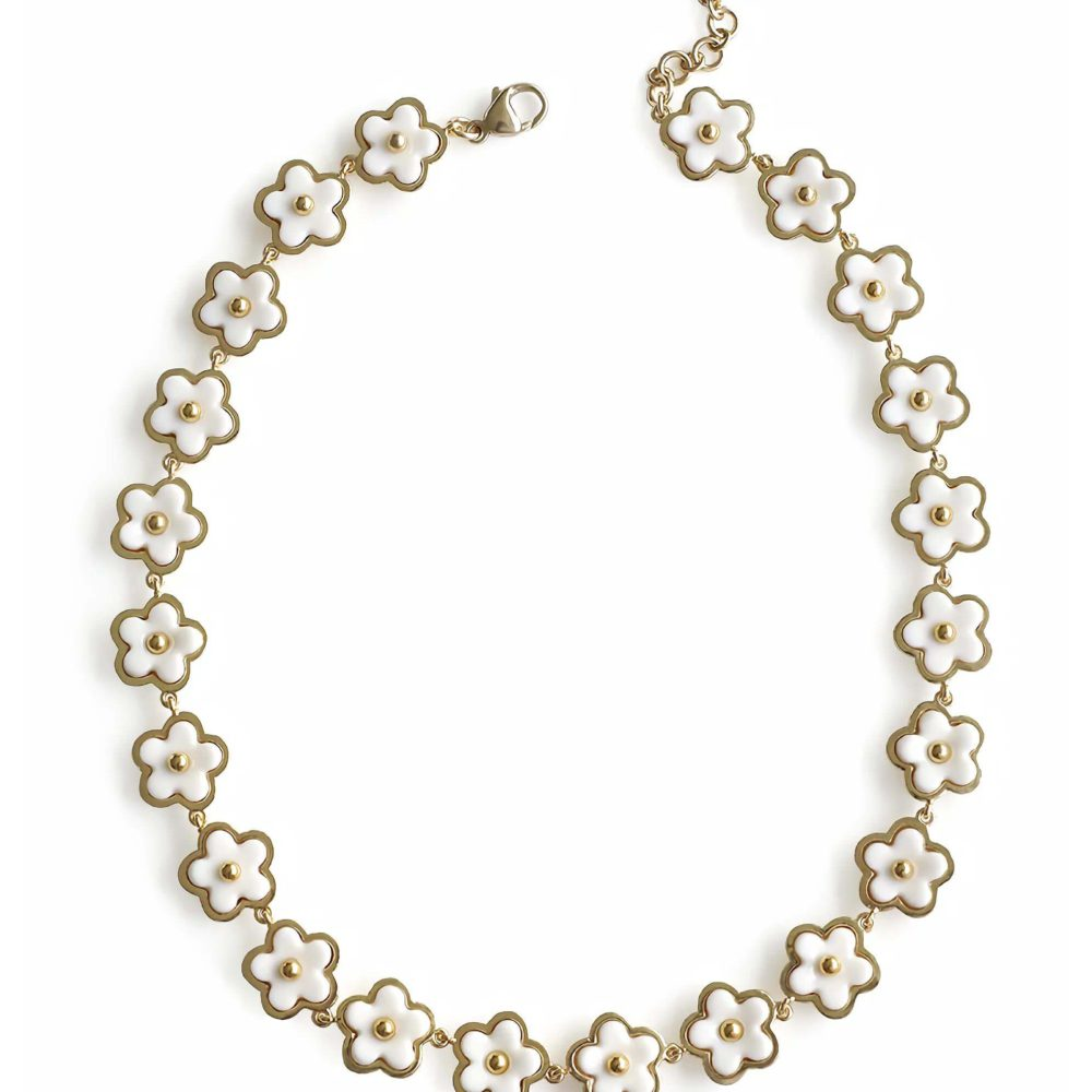 Mini Porcelain Daisy Cluster Necklace