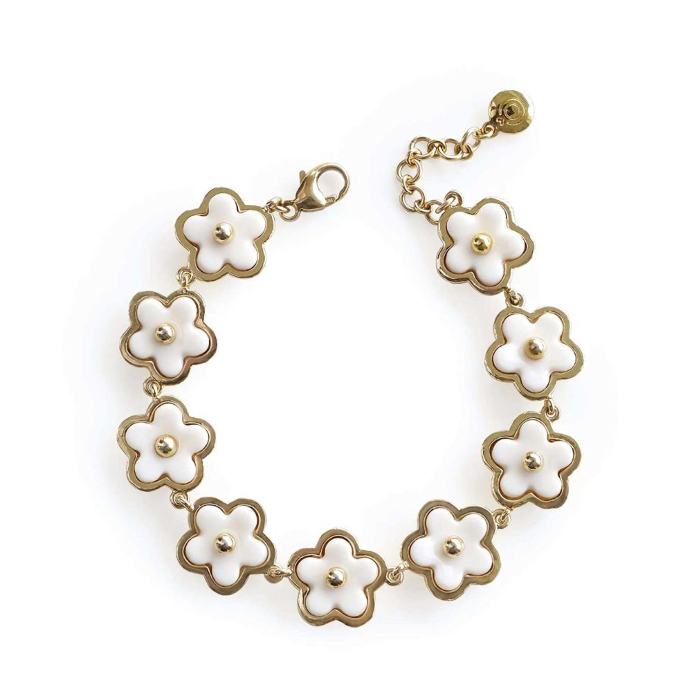 Mini Porcelain Daisy Cluster Bracelet _ poporcelain