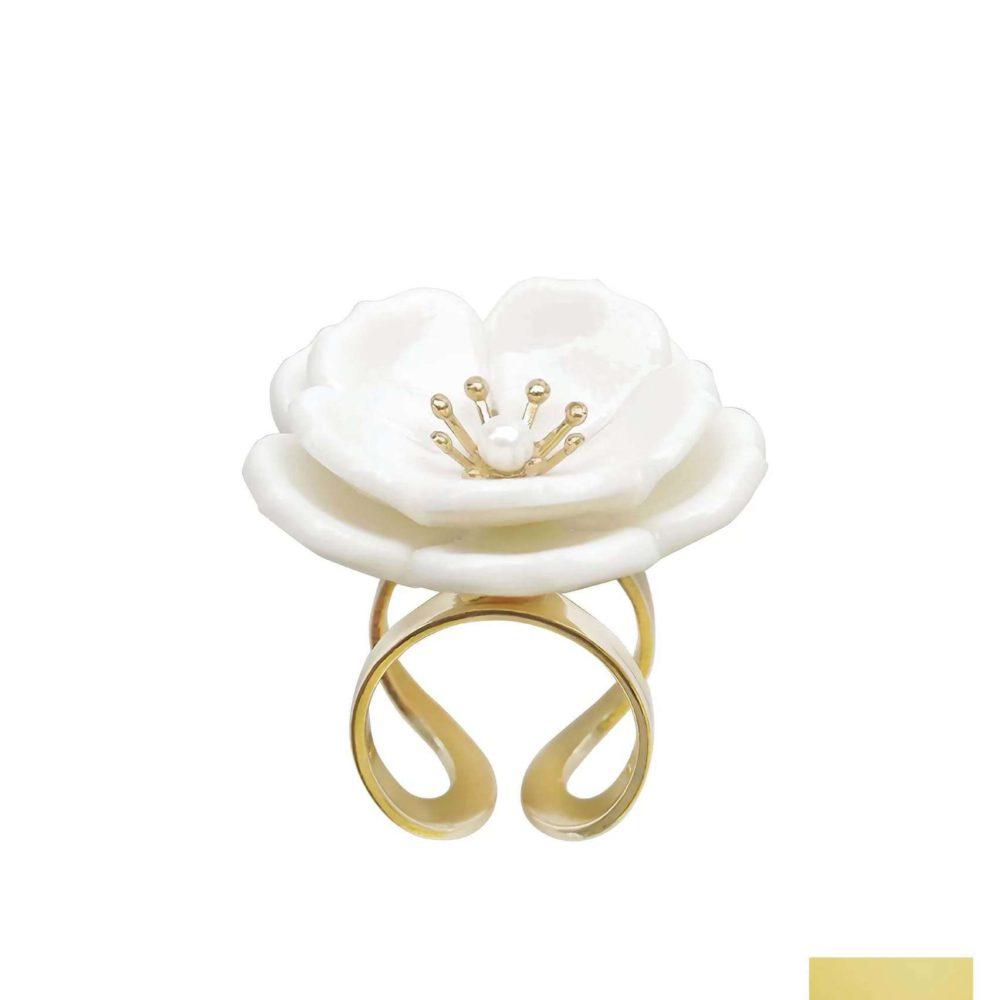 Porcelain Plum Blossom Statement Ring
