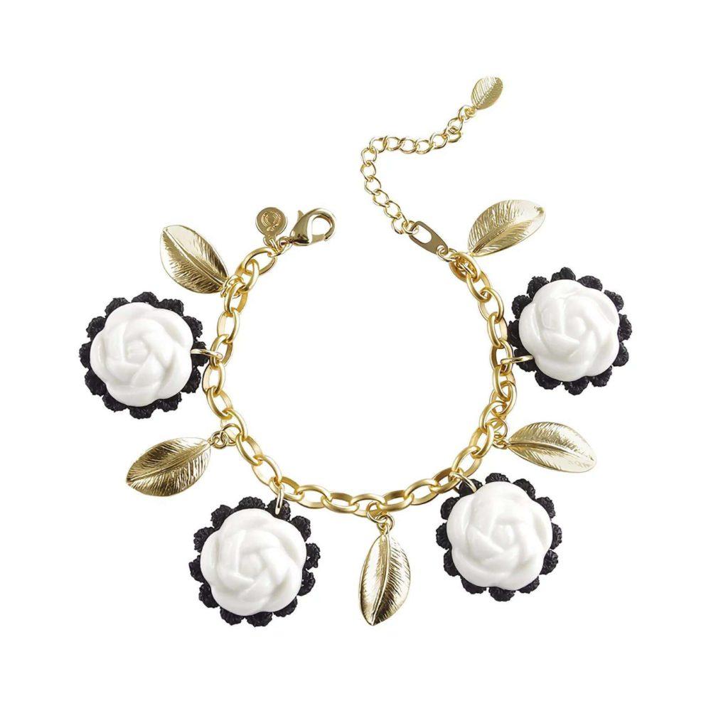 Porcelain Camellias And Golden Leaves Bracelet