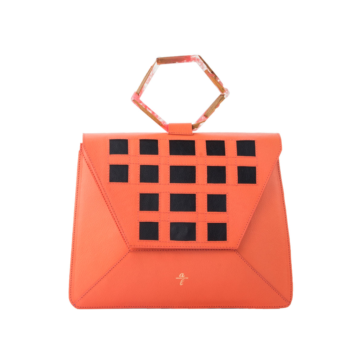 Chrome Free Coral Leather Brief Bag