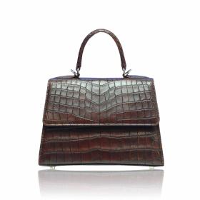 Matt dark brown Crocodile Handbag Goldmas