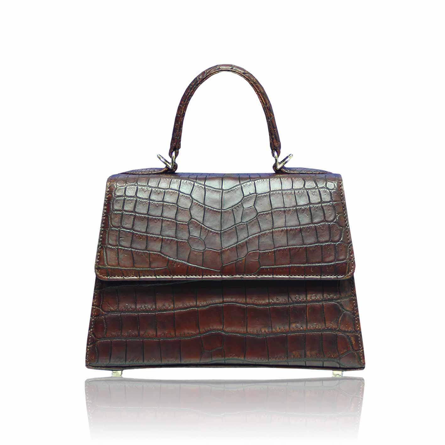 Goldmas Brown Crocodile Leather Bag