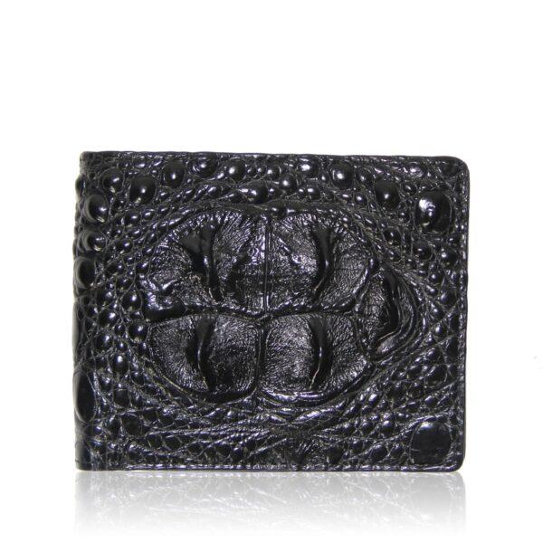 black crocodile hornback leather wallet