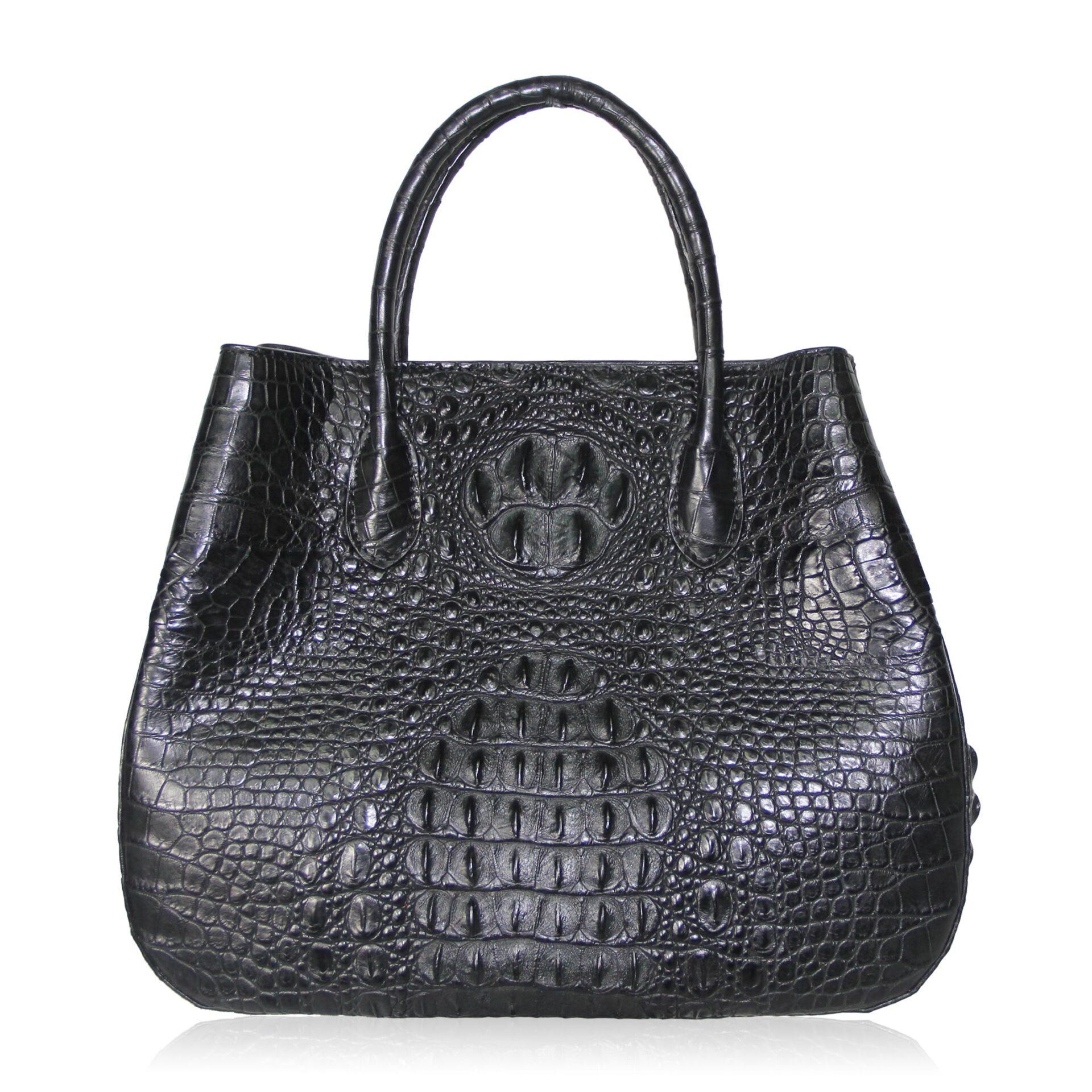 Women's Black Crocodile Leather Handbag Novel