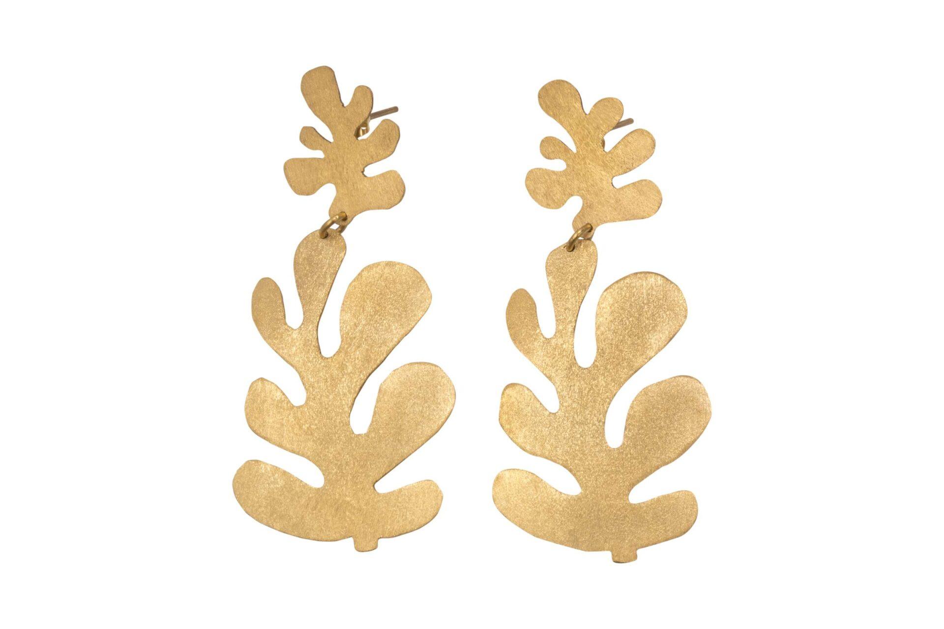 Alejandra de Coss women's double Leaf earrings in gold plated