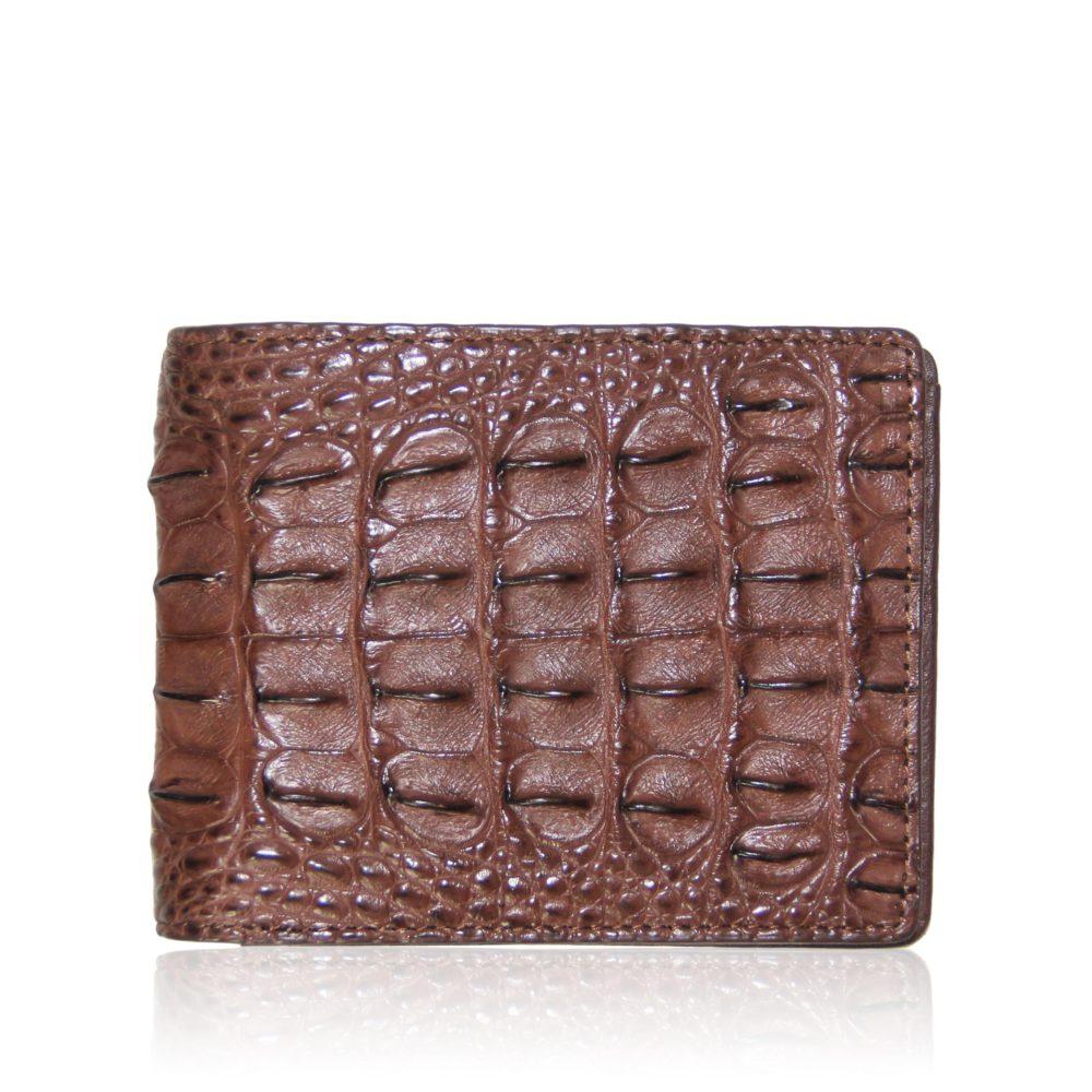Tan crocodile hornback leather men's wallet