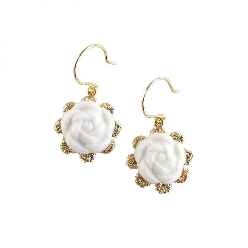 Everyday Porcelain Camellia Flower Charm Earrings