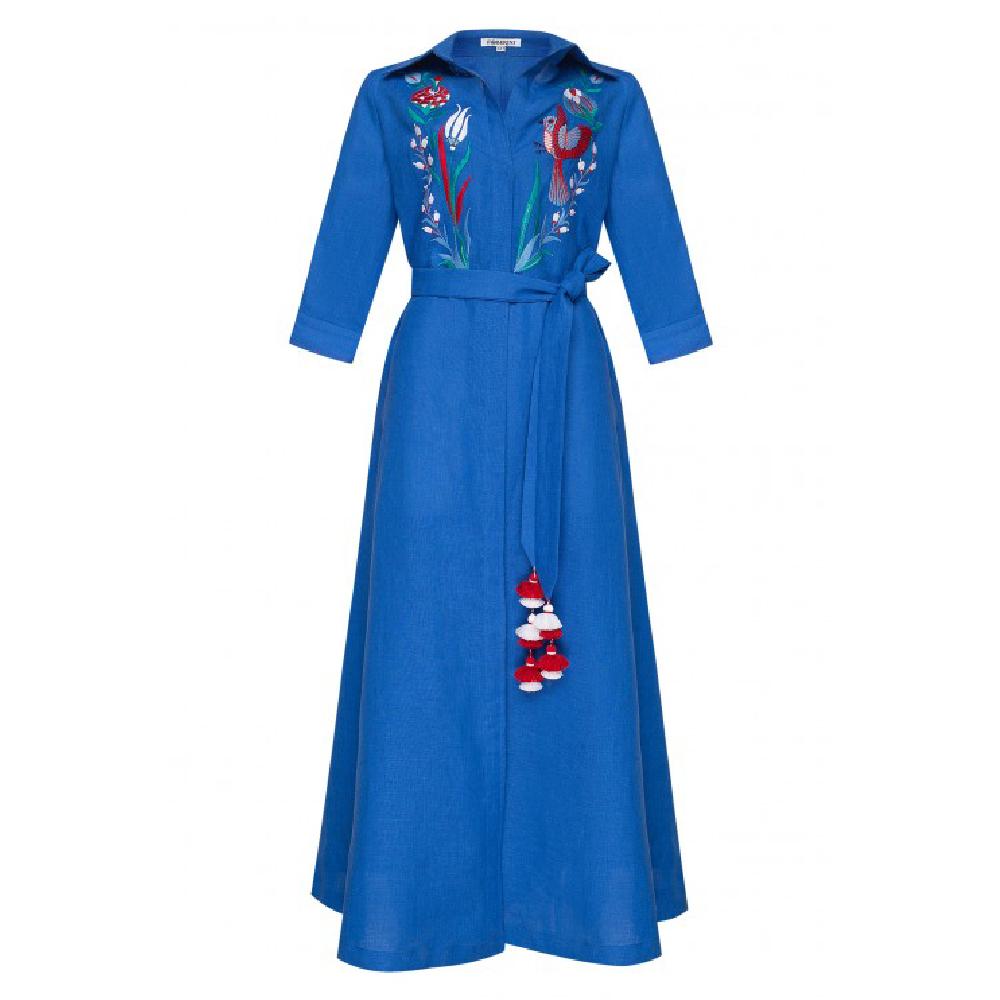 Quezal Blue Maxi Dress
