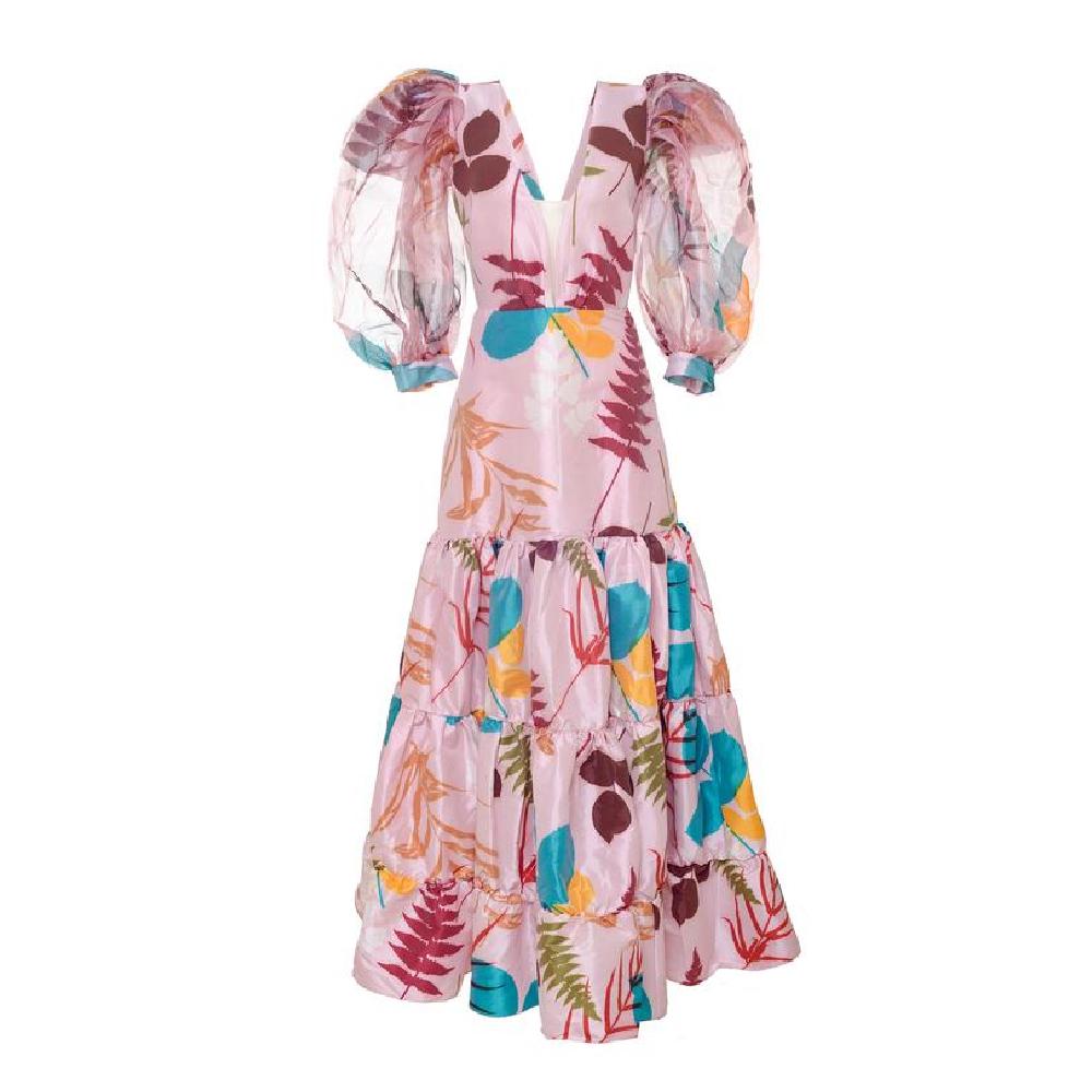 Manglar pink brown leaves dress