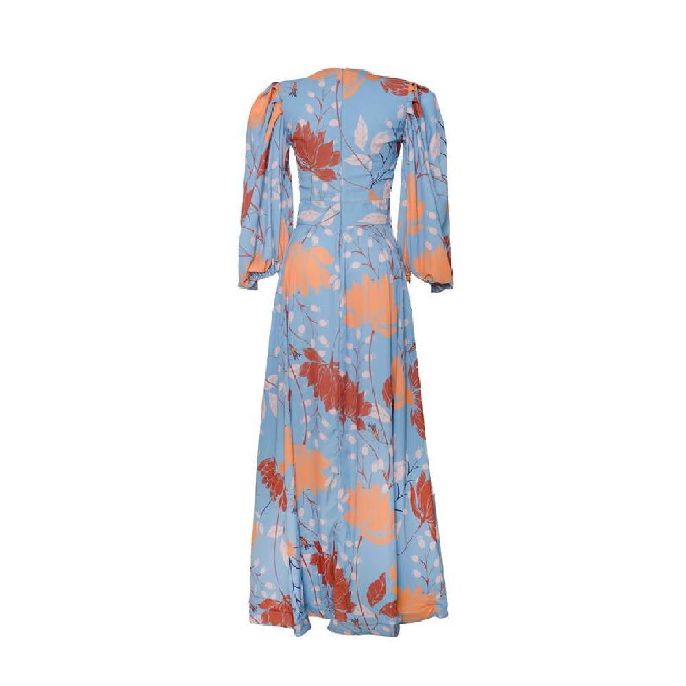 Umbrella blue brown flowers bird dress