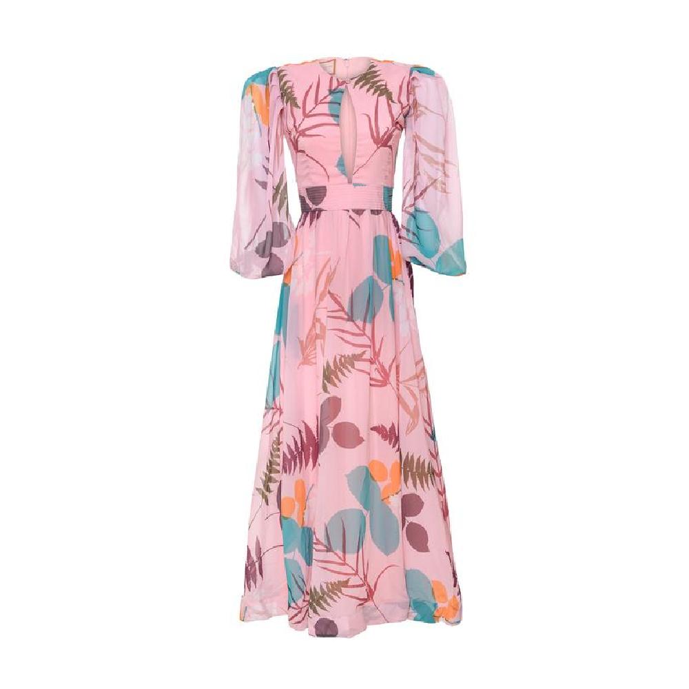 Umbrella pink brown leaves bird dress