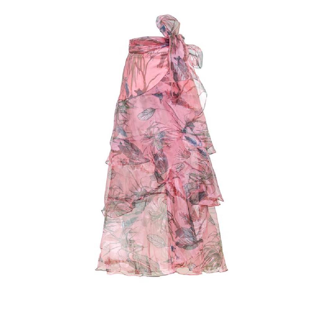 Amorino pink green leaves skirt