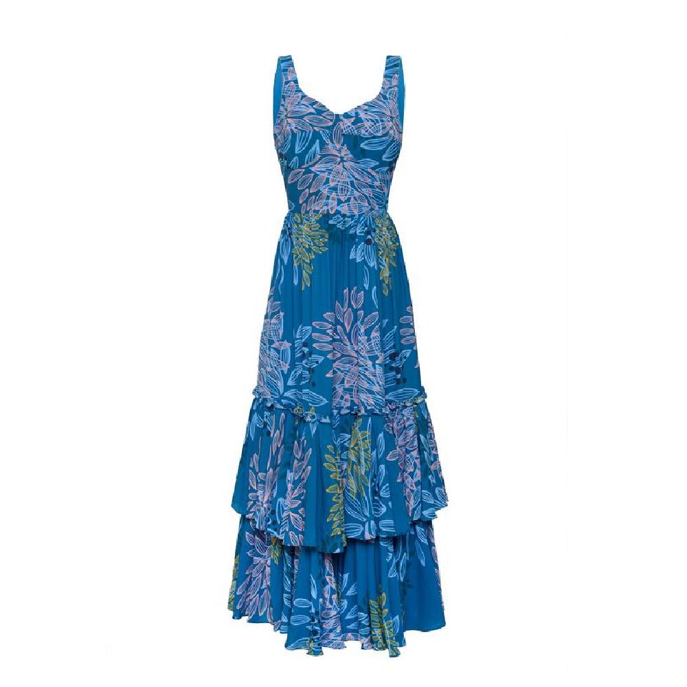 Linate blue pink leaves dress