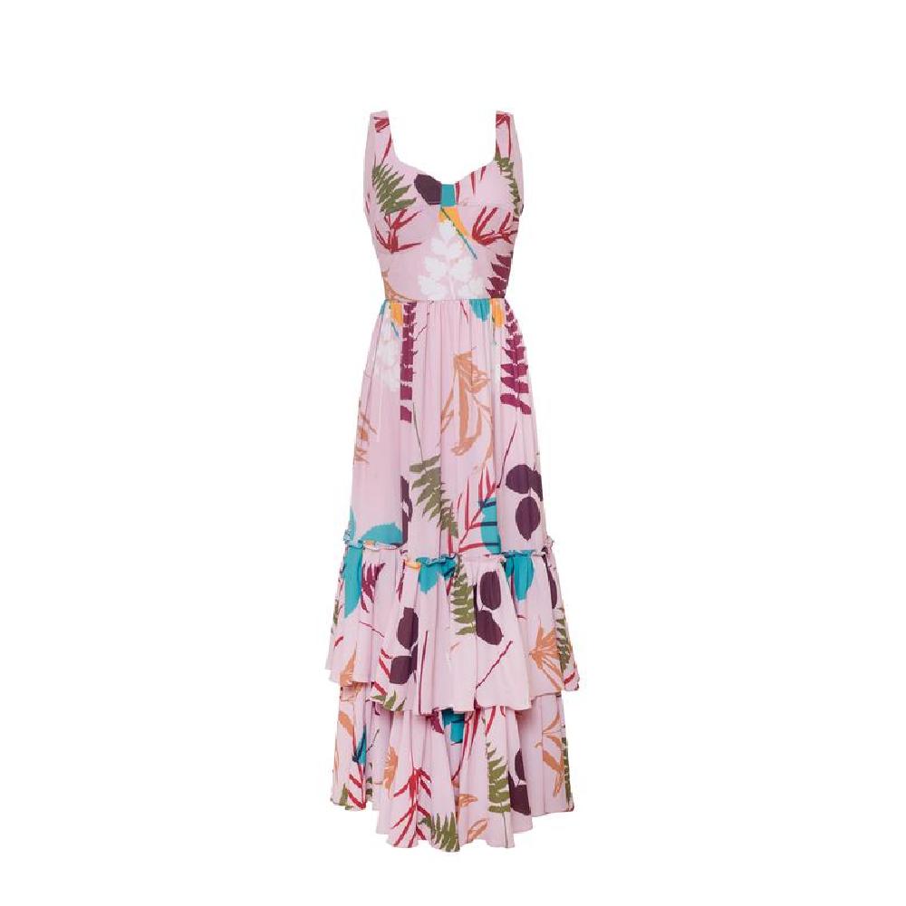 Linate pink brown leaves dress