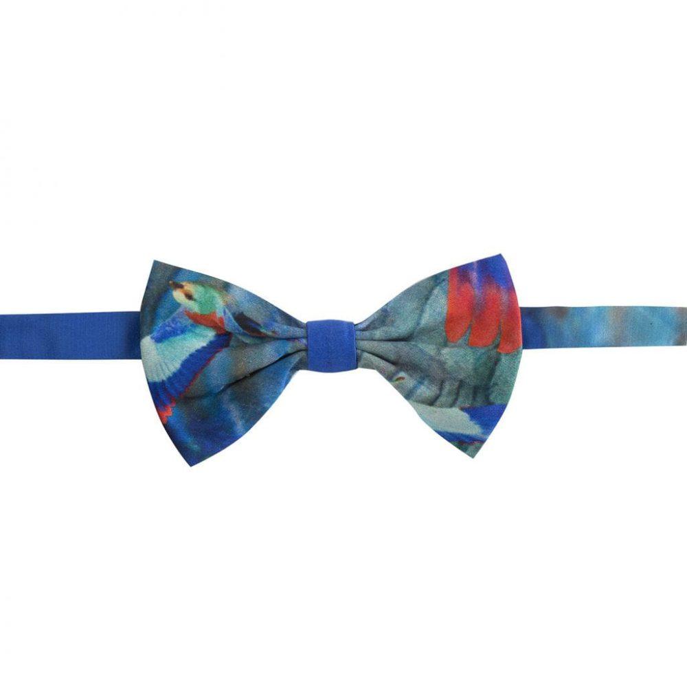 Hummingbird silk bow tie