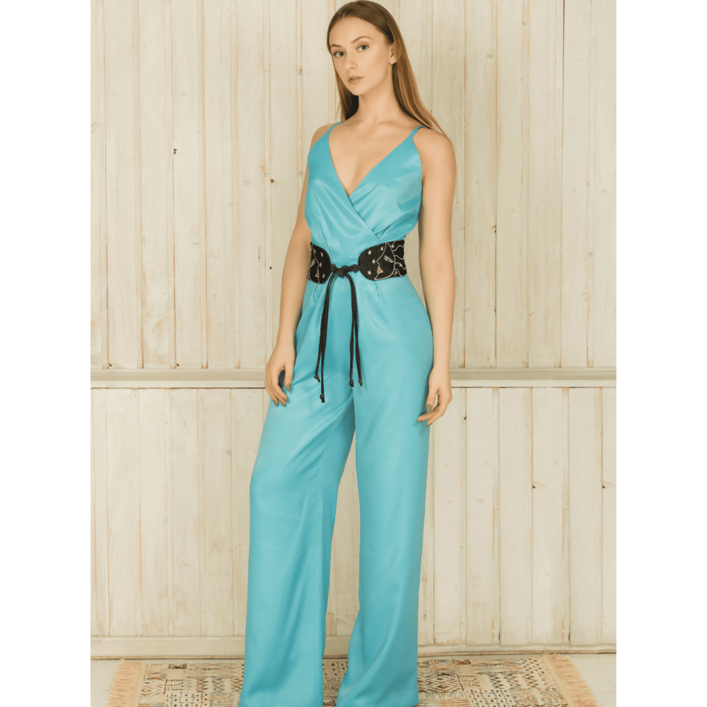 MUZA women's blue silk jumpsuit