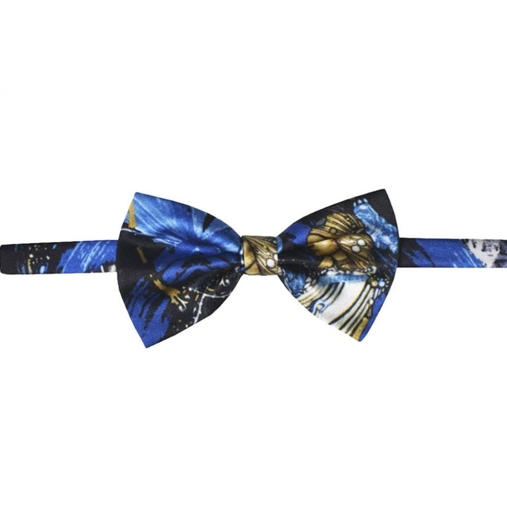 Madeline blue silk bow tie