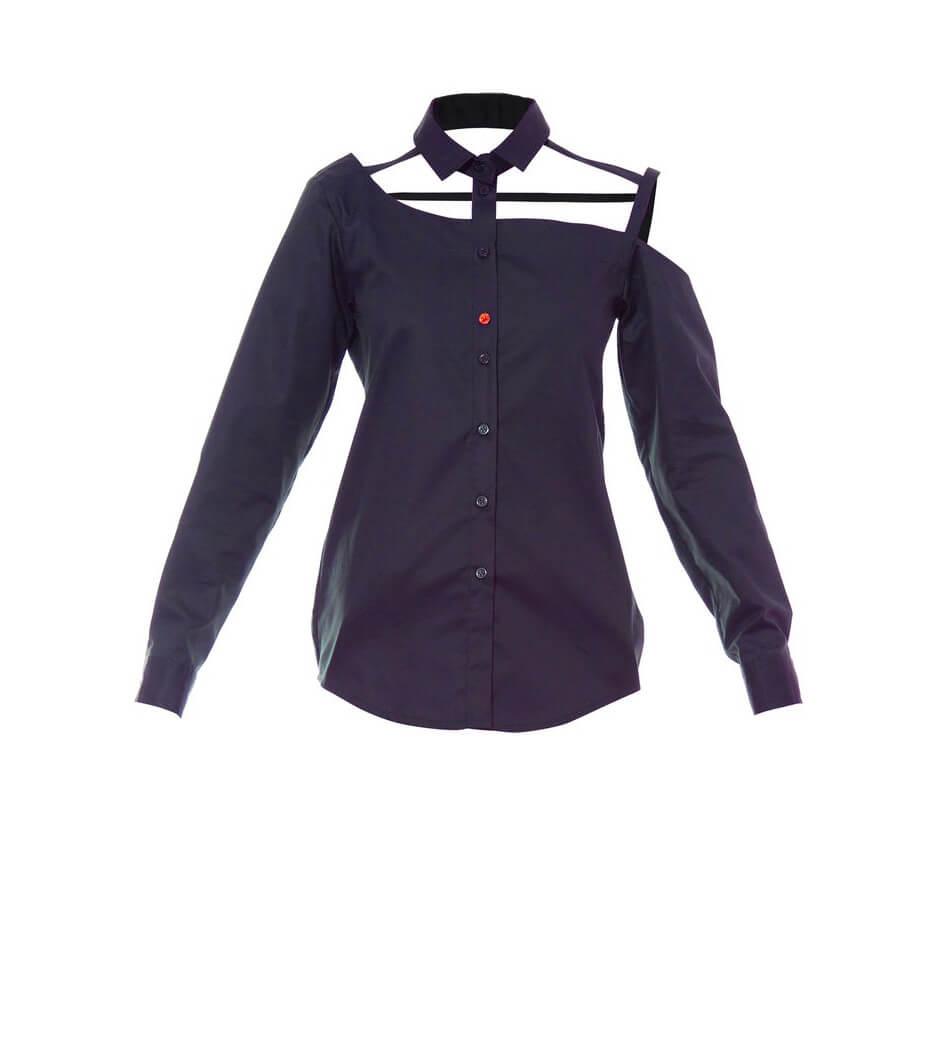 Talented women's one shoulder button down navy blue cotton blouse
