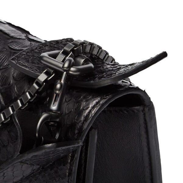 Diavolino piccolino black python gun metal chain