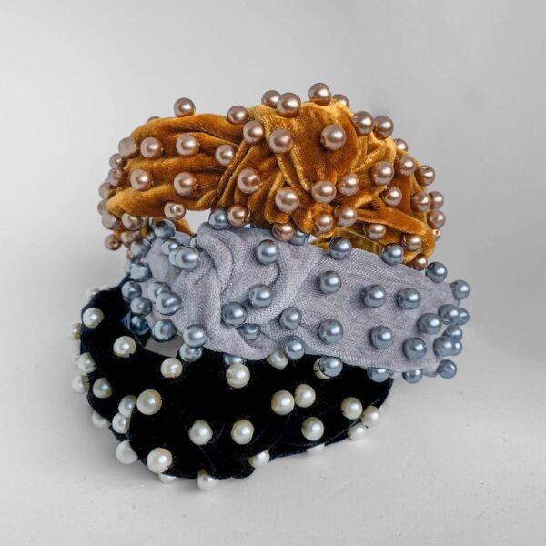 Pearl Headband in Grey Velvet   Jewelled headband