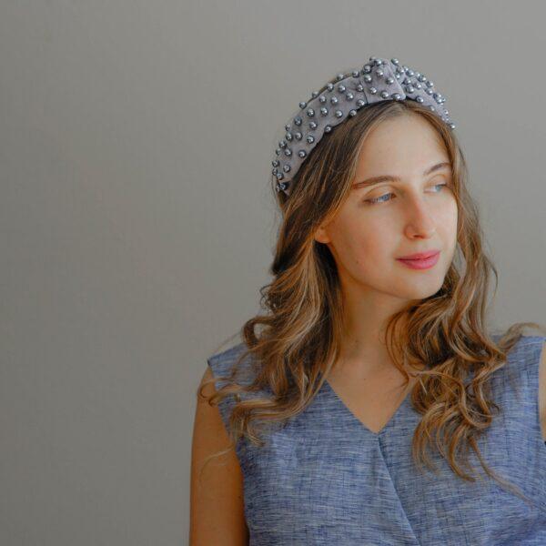 Pearl Headband in Grey Velvet | Jewelled headband