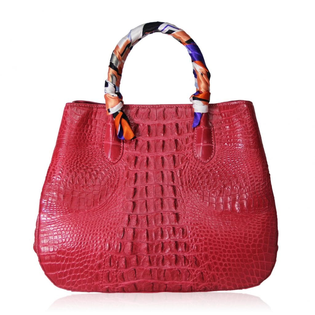 Women's Red Crocodile Leather Novel Handbag