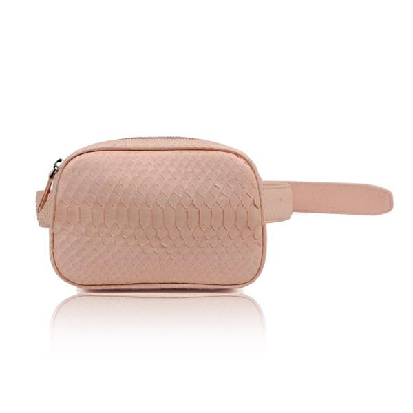 Pink Python Leather Belt Bag
