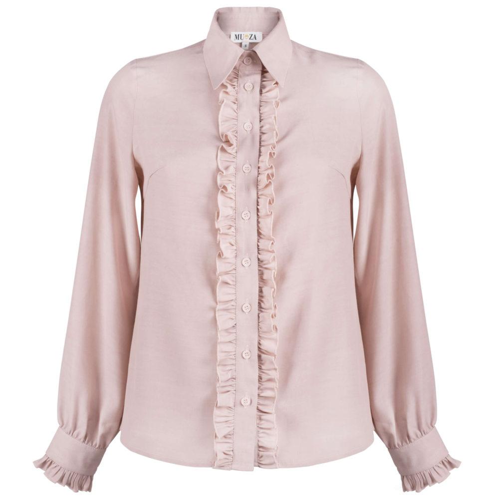 MUZA women's ruffled pink viscose shirt
