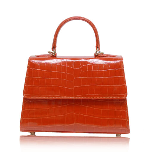 Goldmas Orange Shiny Crocodile Handbags