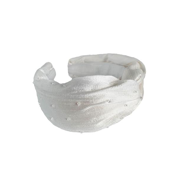 Silk White Turban Headband | Crystal Headband