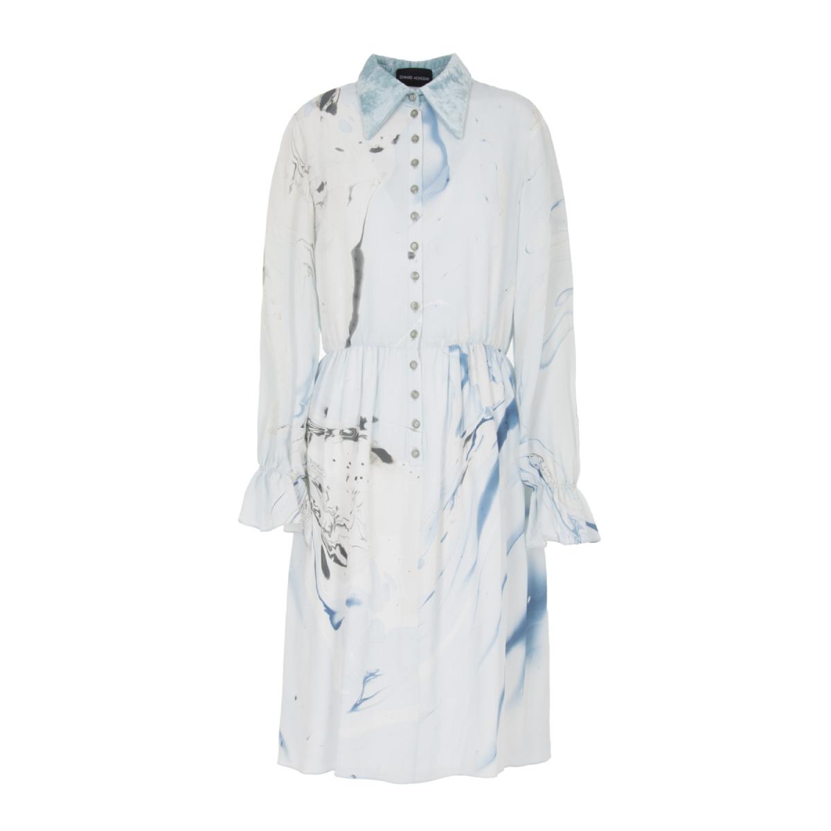 marbled button up dress