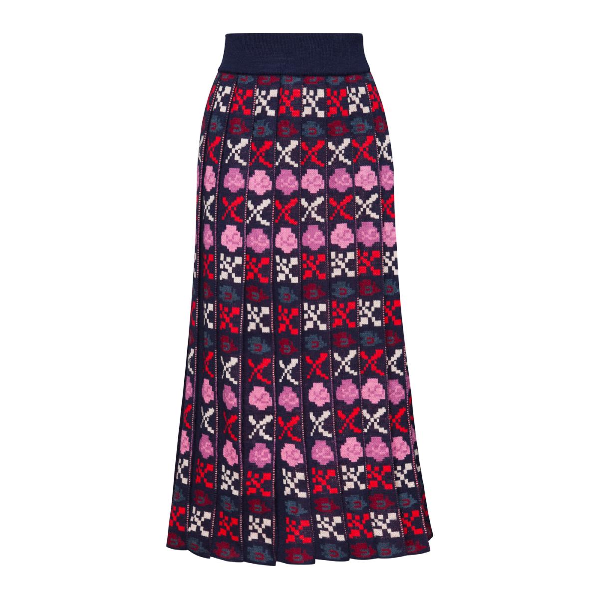 Petra Blue Midi Pleated Skirt