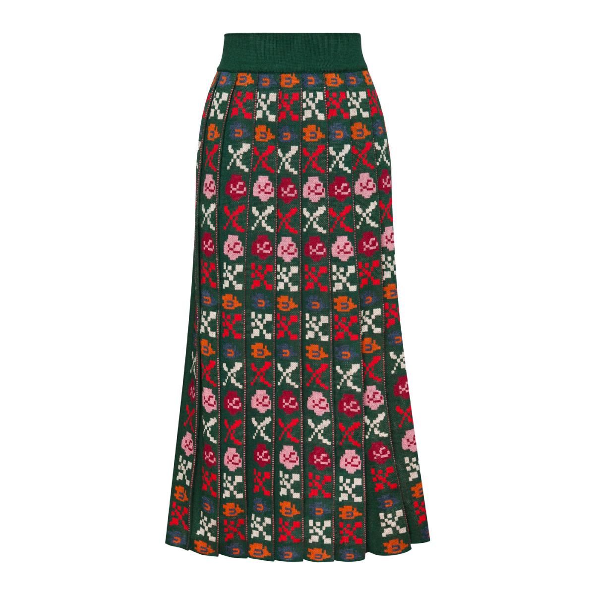 Petra Green Midi Pleated Skirt