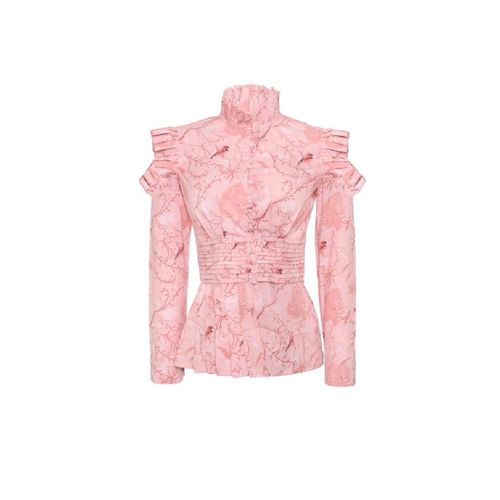 Ibis pink brown leaves shirt