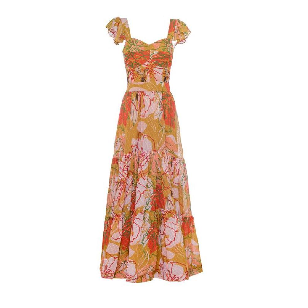 Miranda mustard green flowers dress