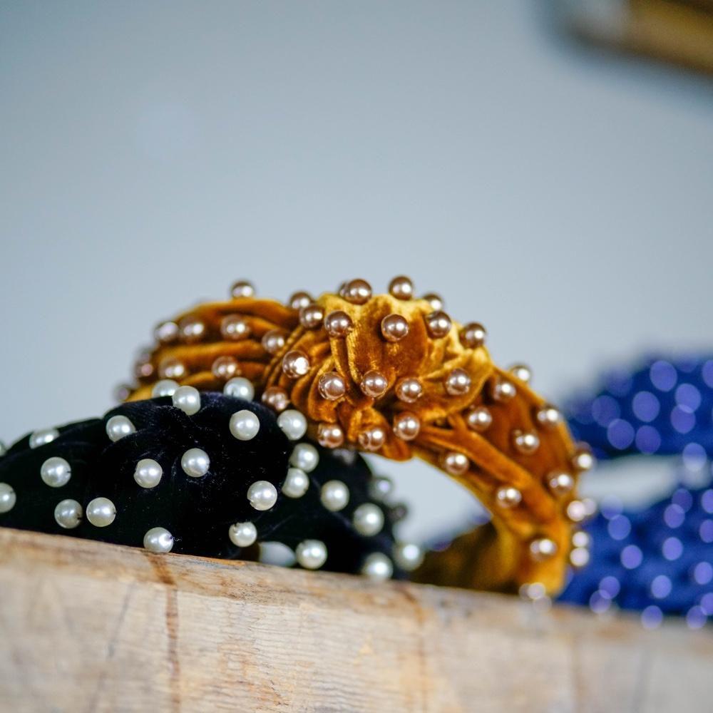 Knot Gold Velvet Headband with pearls | Pearl Headband