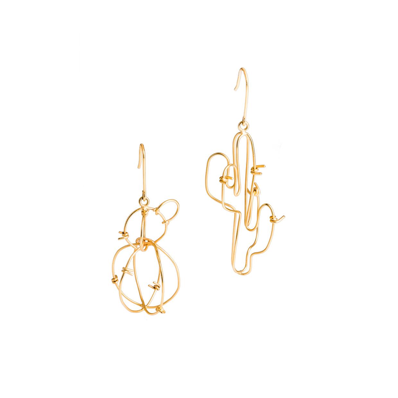Alejandra de Coss women´s sahuaro gold plated earrings
