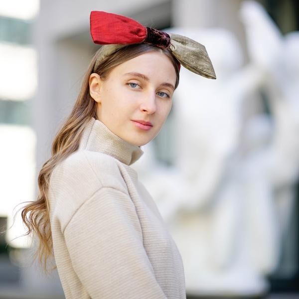 Silk Bow Headband   Designer Bow Headbands   Red Bow Headband