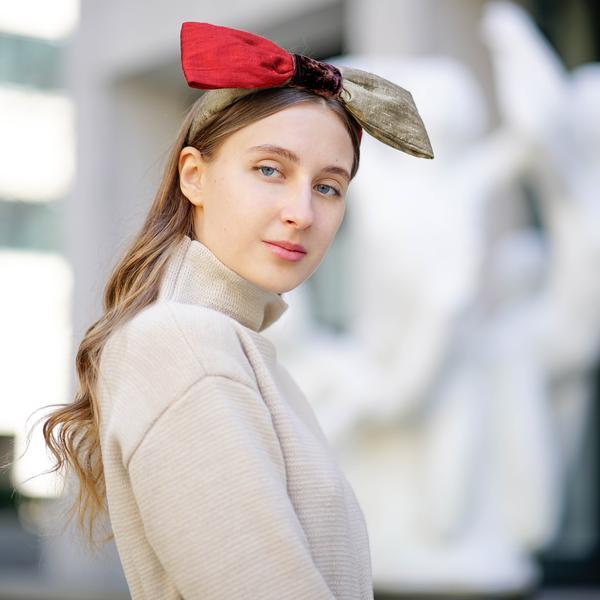 Silk Bow Headband | Designer Bow Headbands | Red Bow Headband