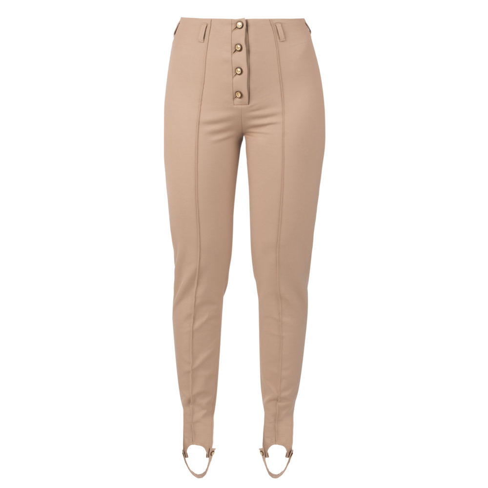 Muza High-rise stirrup pants in beige