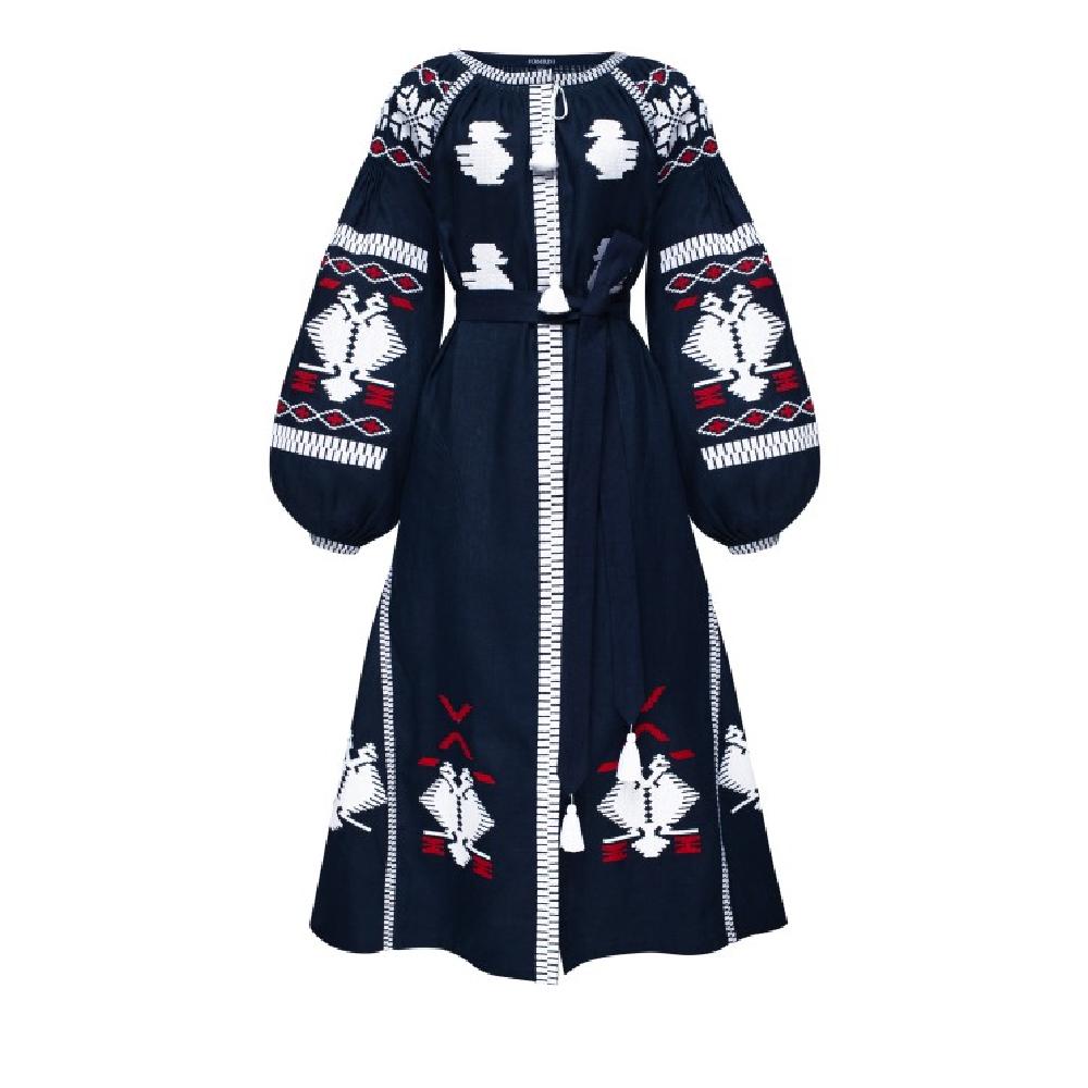 Ukrainian night blue midi dress