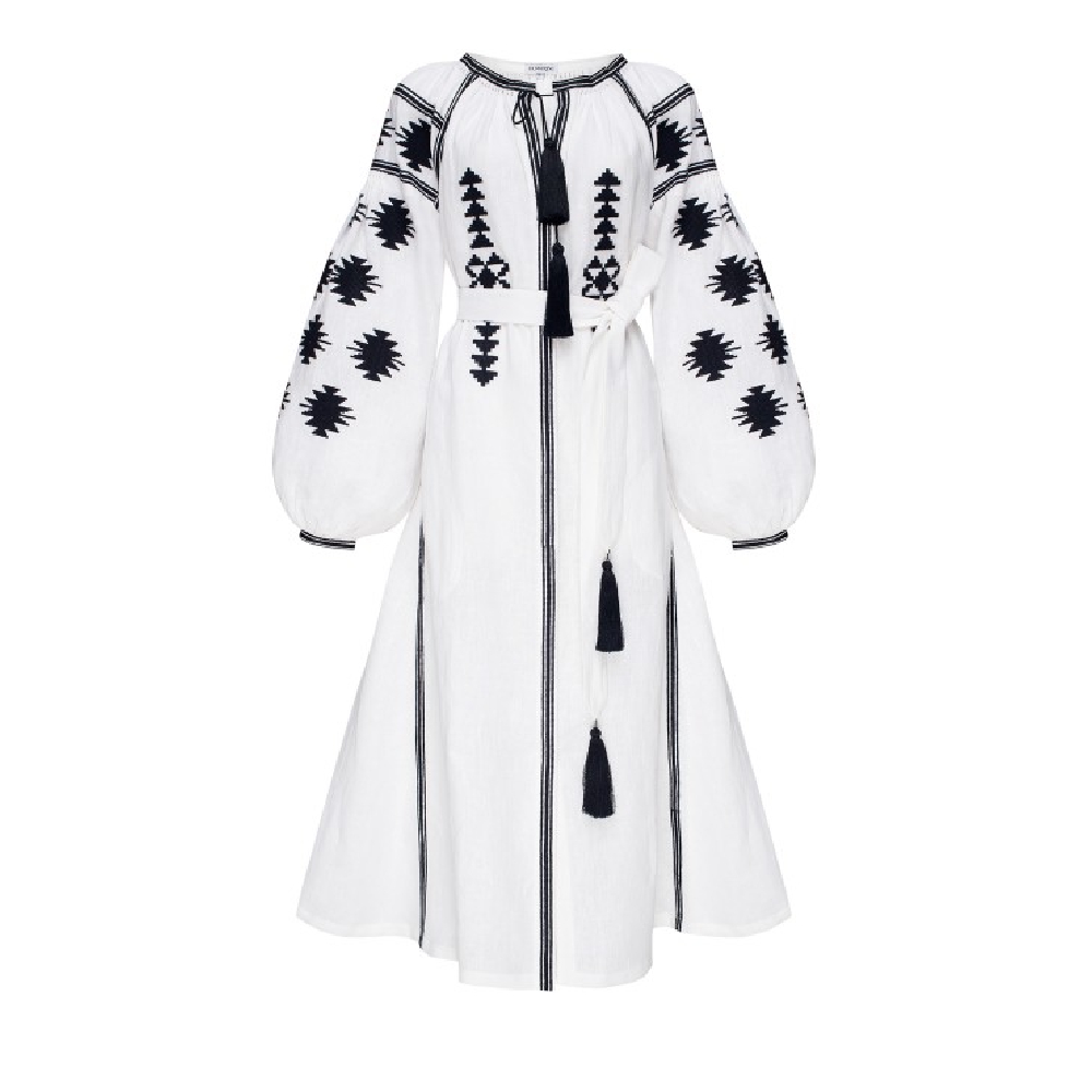 Midi dress white white geometry