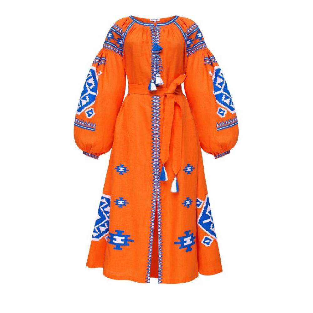 Amber orange midi dress