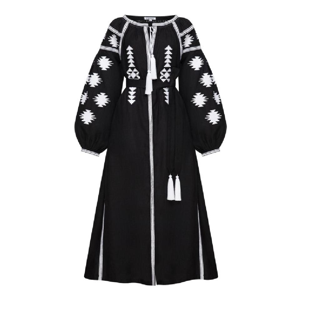 Black geometry black midi dress