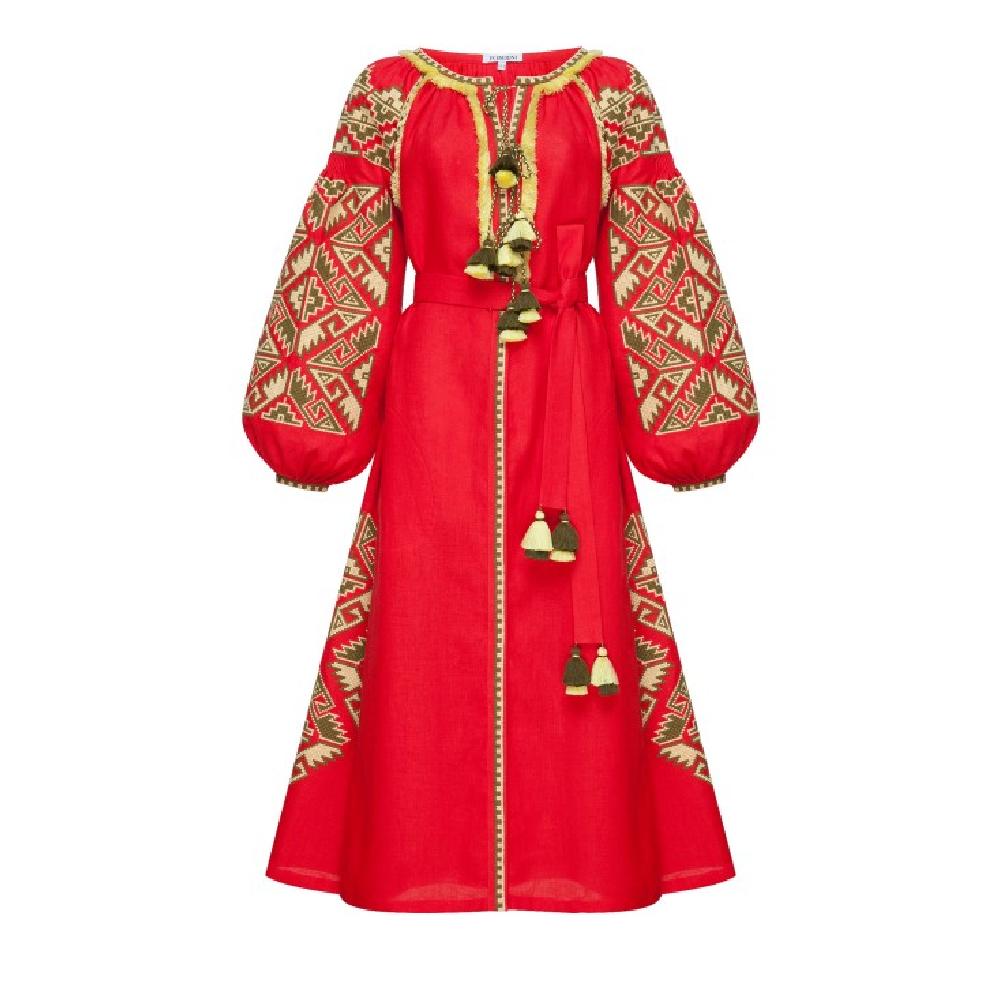 Midi dress red Khrystyna