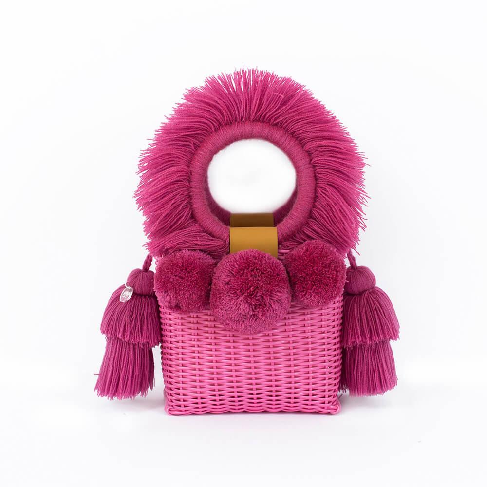 pink handwoven bag